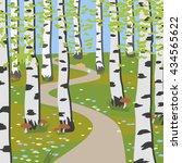 birch grove with mushrooms  ... | Shutterstock .eps vector #434565622