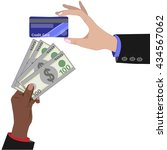 hand with credit card and hand... | Shutterstock .eps vector #434567062