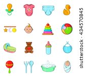 baby icons set  cartoon style | Shutterstock .eps vector #434570845