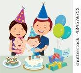 happy family celebrating kid... | Shutterstock .eps vector #434576752