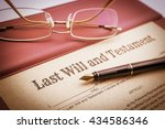 Small photo of Vintage / retro style : Fountain pen, eye glasses and a last will and testament on a vinyl desk pad. A form is printed on a mulberry paper and waiting to be filled and signed by testator / testatrix.