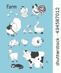 farm animals big set. chicken   ... | Shutterstock . vector #434587012
