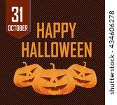 happy halloween card with... | Shutterstock . vector #434606278