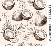 coconuts  tropical leaves and... | Shutterstock .eps vector #434632186