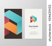 business card with isometric... | Shutterstock .eps vector #434635432