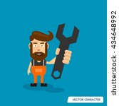 bearded man hold wrench