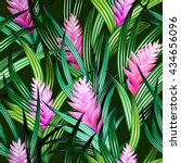 tropical vector pattern with... | Shutterstock .eps vector #434656096