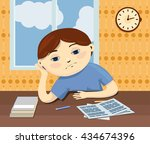 a sad kid sits by the table and ...   Shutterstock .eps vector #434674396