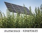 solar panel in the high grass ... | Shutterstock . vector #434693635