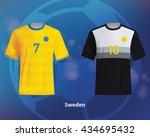 color soccer t shirts of sweden.... | Shutterstock .eps vector #434695432