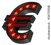 Red-black Euro sign with stars isolated on white. Computer generated 3D photo rendering. - stock photo