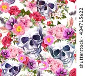 Human Skulls With Flowers For...