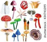 Mushroom Set Colorful Low Poly...