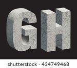concrete 3d letters. vector... | Shutterstock .eps vector #434749468