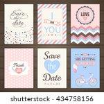 set of romantic cards. vector...   Shutterstock .eps vector #434758156