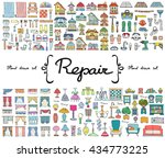 vector set with hand drawn... | Shutterstock .eps vector #434773225