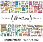 vector set with hand drawn... | Shutterstock .eps vector #434776402