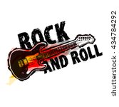 rock and roll logotype  badge   ...   Shutterstock .eps vector #434784292