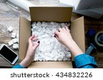 young woman wearing denim shirt ... | Shutterstock . vector #434832226