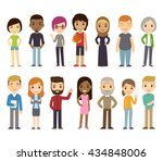 set of diverse isolated people. ... | Shutterstock . vector #434848006
