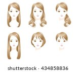 hair style. long hair.  short... | Shutterstock .eps vector #434858836