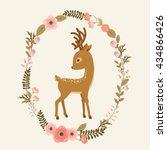 little deer in a floral wreath. ...