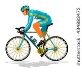 kazakh road cyclist on... | Shutterstock .eps vector #434883472