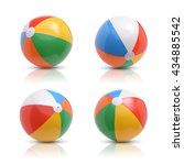 Beach Ball Set Isolated White - Fine Art prints