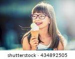 young cute caucasian blond girl ... | Shutterstock . vector #434892505