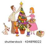 Family Decorating Christmas...