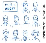 collection of angry men. set of ... | Shutterstock .eps vector #434934286