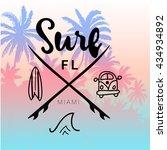 Vintage Watercolor Summer Surf...