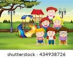 kids doing human pyramid on... | Shutterstock .eps vector #434938726