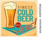 cold beer   vintage advertising ... | Shutterstock .eps vector #434945266