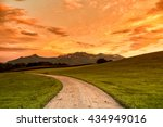 footpath and meadow with... | Shutterstock . vector #434949016