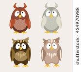 cute owl flat vector... | Shutterstock .eps vector #434970988