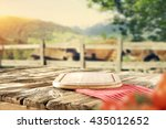 green trees and farm and shabby ... | Shutterstock . vector #435012652