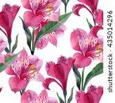 floral pattern watercolor.... | Shutterstock . vector #435014296