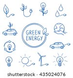 icon set green energy  ecology  ... | Shutterstock .eps vector #435024076