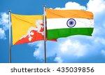 bhutan flag with india flag  3d ... | Shutterstock . vector #435039856