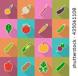 vegetables flat icons with the... | Shutterstock .eps vector #435061108