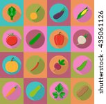 vegetables flat icons with the... | Shutterstock .eps vector #435061126