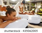 spa couple massage. beautiful... | Shutterstock . vector #435062005