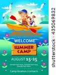 kid's summer camp poster or... | Shutterstock .eps vector #435069832