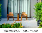 hotel balcony with the garden | Shutterstock . vector #435074002