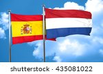 spanish flag with netherlands... | Shutterstock . vector #435081022
