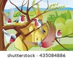 robin in tree | Shutterstock .eps vector #435084886