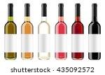 Set Of Wine Bottles With Black...