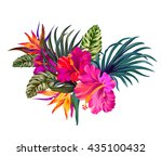 vector tropical bouquet | Shutterstock .eps vector #435100432