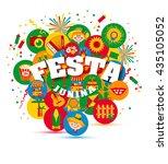 festa junina village festival... | Shutterstock .eps vector #435105052